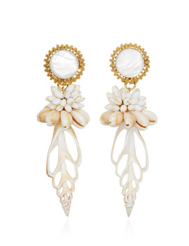 Oasis 24 K Gold Plated Shell Clip Earrings by Brinker & Eliza