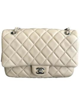 Classic Flap Ivory Lambskin Leather Shoulder Bag by Chanel