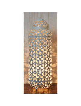 Jewelled Flower Floor Lantern   White by The Range
