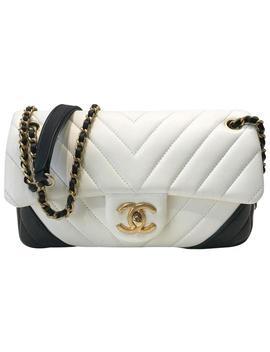 Handbag Classic Flap Shoulder Black/White Chevron White / Black Leather Cross Body Bag by Chanel