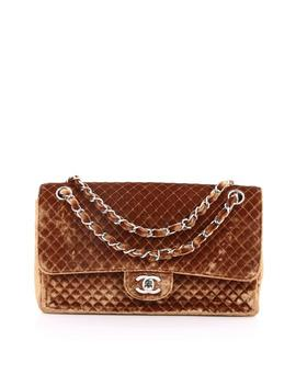 Classic Flap Vintage Classic Single Micro Quilted Medium Brown Velvet Shoulder Bag by Chanel