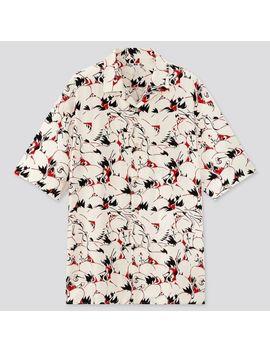 Men Japanese Auspicious Symbol Open Collar Short Sleeve Shirt by Uniqlo