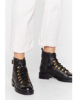 D Ring 'em Out Leather Hiker Boots by Nasty Gal