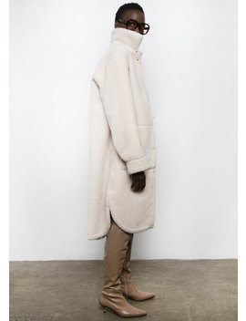 Leather Reversible Shearling Coat In Cream by The Frankie Shop