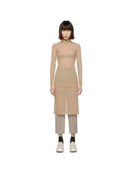 Beige Turtleneck Dress by Mm6 Maison Margiela
