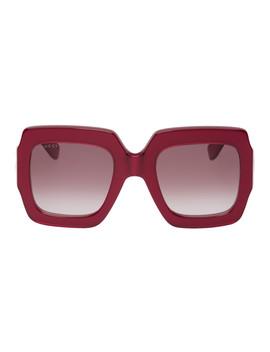 红色 Pop Web 方框大廓形太阳镜 by Gucci