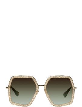 金色六边形大廓形太阳镜 by Gucci