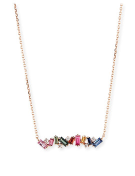 18k Rose Gold Diamond & Baguette Bar Necklace W/ Rainbow Sapphires by Suzanne Kalan