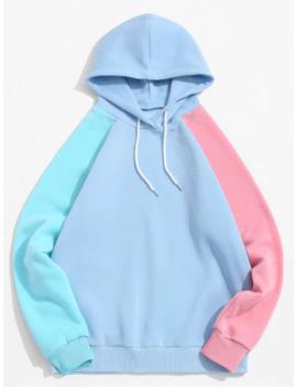 Popular Sale Color Blocking Spliced Drawstring Raglan Sleeve Hoodie   Multi Xl by Zaful
