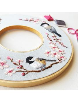 Hand Embroidery Kit: Spring Double Hoop Wreath, Chickadee And Cherry Blossom Needlepoint Design, Modern Embroidery Pattern, Thread Painting by Etsy