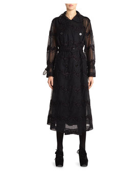 Beaded Tulle Double Breasted Trench Coat by Simone Rocha
