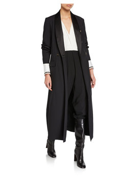 Satin Lapel Double Breasted Long Coat by Brunello Cucinelli