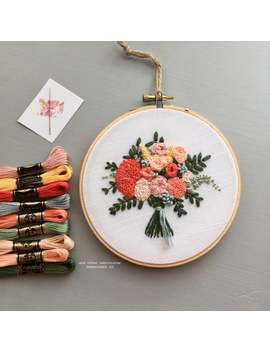 Diy Hand Embroidery Kit By And Other Adventures | Summer Flowers, Embroidered Bouquet Florals, Zinnias by Etsy