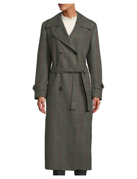 The Christie Double Breasted Windowpane Check Wool Cashmere Trench Coat by Giuliva Heritage Collection