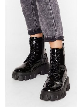 Things Just Got Cleated Patent Faux Leather Boots by Nasty Gal