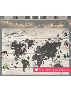 Personalised World Travel Push Pin Map   Wood Effect + Colour Options   100 Free Pins by Etsy