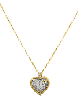 18k Enchanted Forest Twig Heart Necklace W/ Diamonds by Michael Aram