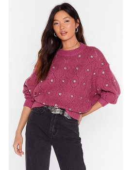 Will You Be Shine Diamante Pointelle Sweater by Nasty Gal