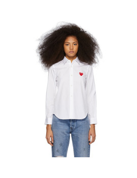 White & Red Heart Patch Shirt by Comme Des GarÇons Play