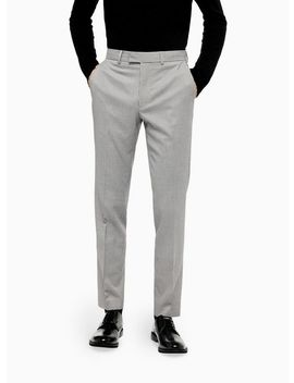 Grey And White Houndstooth Skinny Fit Suit Trousers by Topman