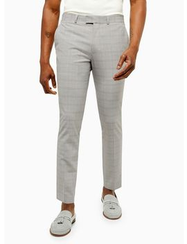 Grey Check Trousers With Yellow Highlight by Topman