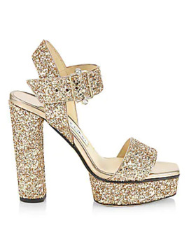 Maie Glitter Platform Sandals by Jimmy Choo