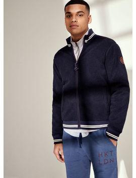 Stripe Trim Zipped Borg Fleece Sweater by Hacket