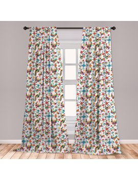"""Ambesonne Mexican Curtains, Traditional Latin American Art Design With Natural Inspirations Flowers And Birds, Window Treatments 2 Panel Set For Living Room Bedroom Decor, 56"""" X 63"""", Multicolor by East Urban Home"""