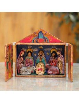 Fair Trade Nativity Scene Retablo Wood Sculpture by Novica