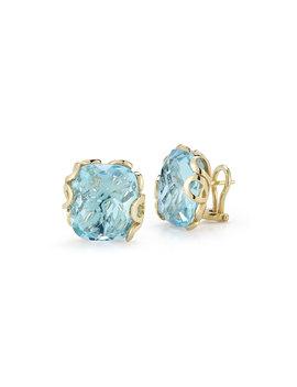 Sea Leaf 18k Yellow Gold Blue Topaz Stud Earrings by Miseno