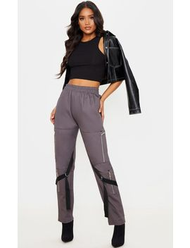 Charcoal  Zip Detail Cargo Trouser by Prettylittlething