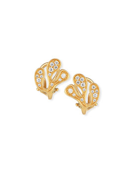 Sea Leaf Diamond Stud Earrings In 18 K Yellow Gold by Miseno