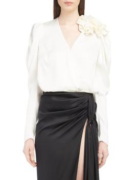 Ruffle Shoulder Silk Blouse by Magda Butrym