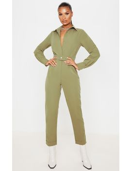 Khaki Tailored Long Sleeve Jumpsuit by Prettylittlething