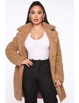 Warm And Fuzzy Sherpa Coat   Taupe by Fashion Nova