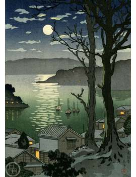 "Japanese Art Print ""Manazuru Harbor"" By Tsuchiya Koitsu, Woodblock Print Reproduction, Cultural Art, Sailboats, Moon, Night, Ocean by Etsy"
