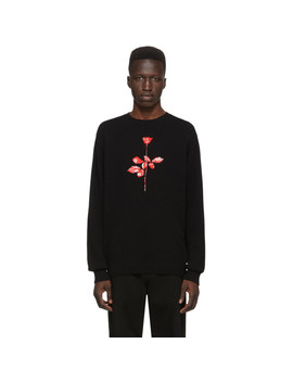 Black Depeche Mode Wool Rose Sweater by Noah Nyc
