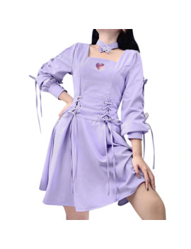 Cut Out Heart Shape Long Sleeve Ribbon Strap Cross Dresses Women Girls Choker Halter Square Collar Party Lolita Gothic Dresses by Ali Express.Com