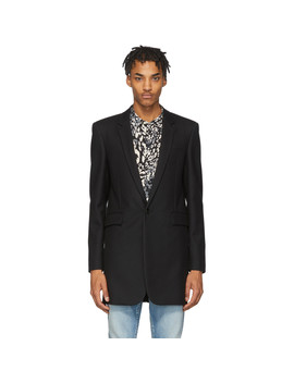 Black Wool Gabardine Coat by Saint Laurent