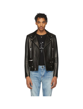 Black Leather Classic Biker Jacket by Saint Laurent