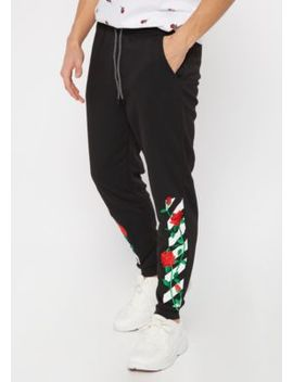 Black Rose Embroidered Side Striped Joggers by Rue21