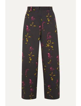 Paroval Cropped Floral Print Cotton Twill Wide Leg Pants by Dries Van Noten