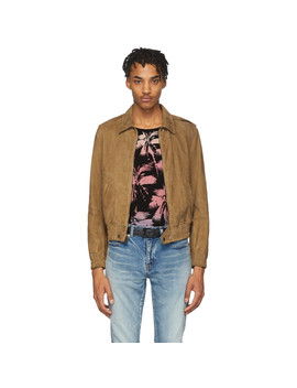 Tan Leather Zipped Lyon Jacket by Saint Laurent