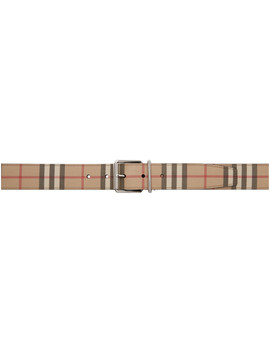 Beige E Canvas Mack Belt by Burberry