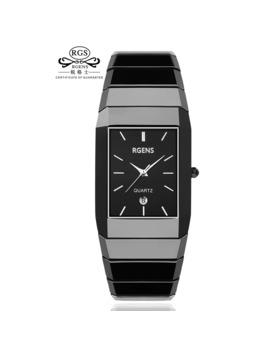 Woman Wristwatches Black White 100% Ceramic Quartz Square Luxury Women's Watches Waterproof Rgens Brand Official Ladies Clocks by Ali Express.Com