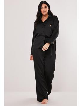 Playboy X Missguided Plus Size Black Satin Shirt And Bottoms Pyjama Set by Missguided