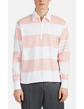 Oversized Block Striped Cotton Rugby Shirt by Thom Browne