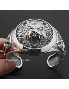 Huge Heavy Lion Knight King Cross 925 Sterling Silver Mens Bracelet Bangle 9 A003 by Ali Express.Com