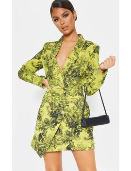 Lime Tiger Jungle Print Black Button Blazer Dress by Prettylittlething