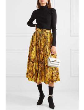 Pleated Floral Print Taffeta Midi Skirt by Richard Quinn